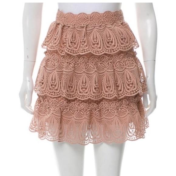 Self-Portrait Dresses & Skirts - Self-Portrait Pink Rose Lace Tiered Mini Skirt 8